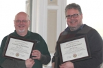 Clinicians Barry Rosier (left) and Mike Dettinger receive their appreciation certificates  [Mark Wallace photo]